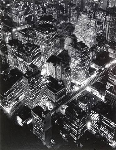 New York Night View Photograph by Berenice Abbott